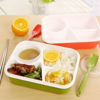 1 unid Portátil 3/4 Compartimentos Cajas de Almuerzo Vajilla Vajilla Recipiente de Comida Bento con Los Palillos Plato de Sopa Niños Favores