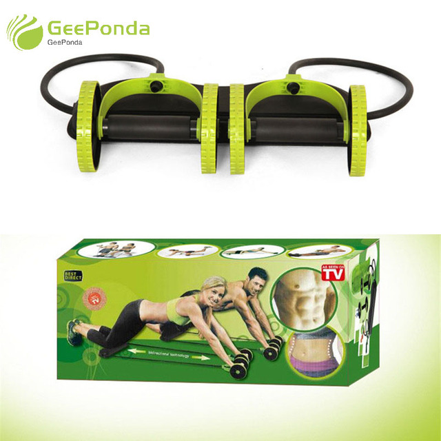 GeePonda Home GYM Equipment Elastic Band Ab Roller Wheel for Abdominal Exercise Machine Fitness Crossfit Workout Muscle Trainer