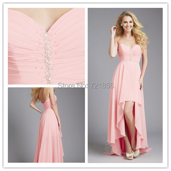 2016 High Low Peach Sweetheart Ankle-Length Bridesmaid Dresses Off the Shoulder  Party Dress Chiffon 6e828ddd2ee9