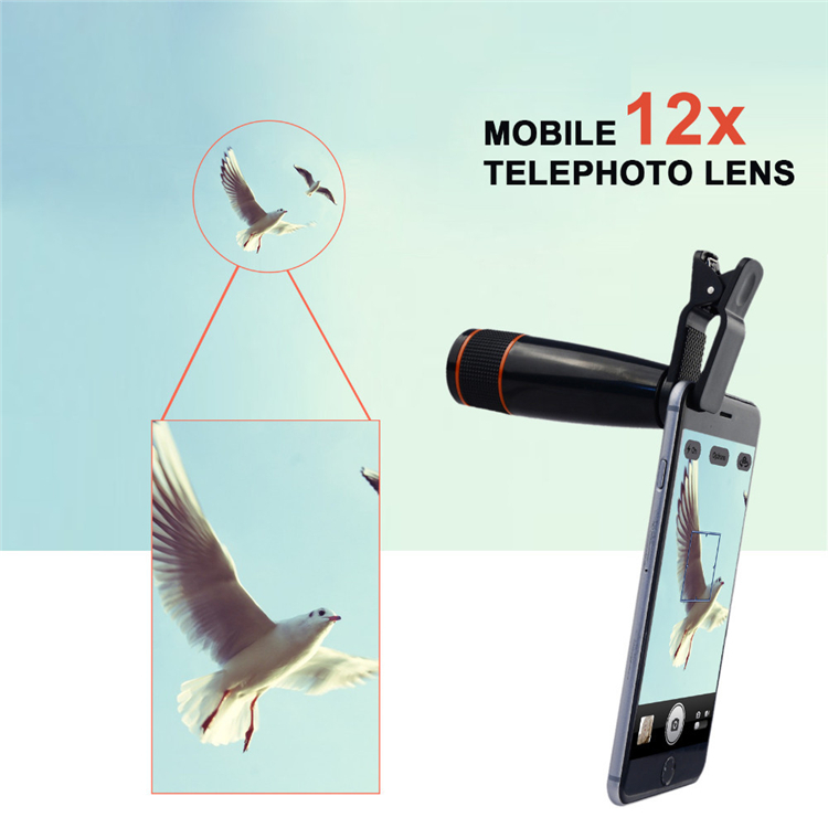 High Quality 12X Telephoto Lens Phone Camera Lenses Optical Zoom Telescope Lentes With Clips For iPhone 5 6 6S 7 Sumgung Xiaomi