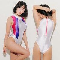 Lunamy 2019 Sexy Satin Glossy Body Suit Patchwork Glitter Swimwear Women Shiny Bodysuit Cosplay One Piece Swimsuit Girls LEOHEX