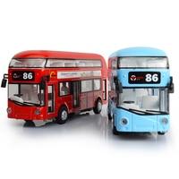 Alloy London Bus Double Decker Bus Light Music Open Door Design Metal Bus Diecast Bus Design