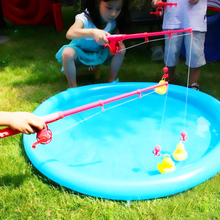 Inflatable Fishing Duck Toys Set Baby Educational Fish Game Props Outdoor Fun Fishing Duck Toys Children Birthday Party Favor
