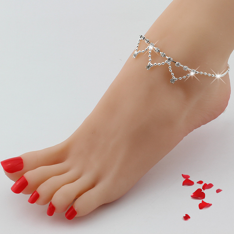1 PC Sexy Foot Anklet Toe Ring Anklet Rhinestone Crystal Beach Wedding Bridal Anklet Chain Barefoot Foot Sandal Fashion Jewelry
