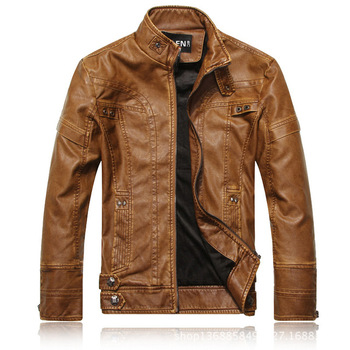 Spring Autumn Brand Leather Jacket Men Slim Short Stand Collar Jaqueta Couro BomberHunting Jacket Faux Leather Fur Coat Suede