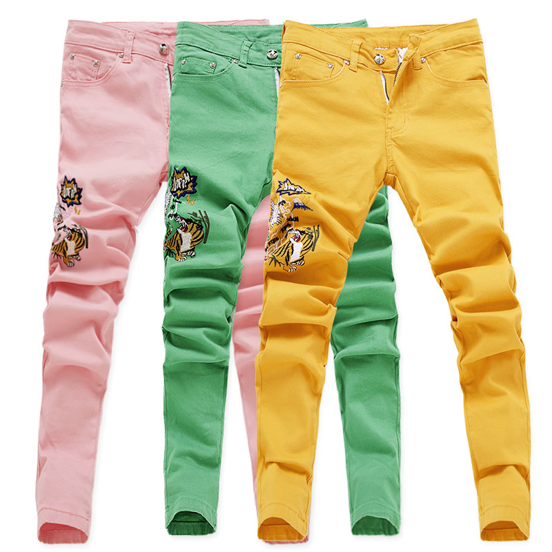 2019 New Fashion Ripped Jeans Men  Embroidery Skinny Pants Man Spring Summer Yellow Green Pink Demin Pants Plus Sizer