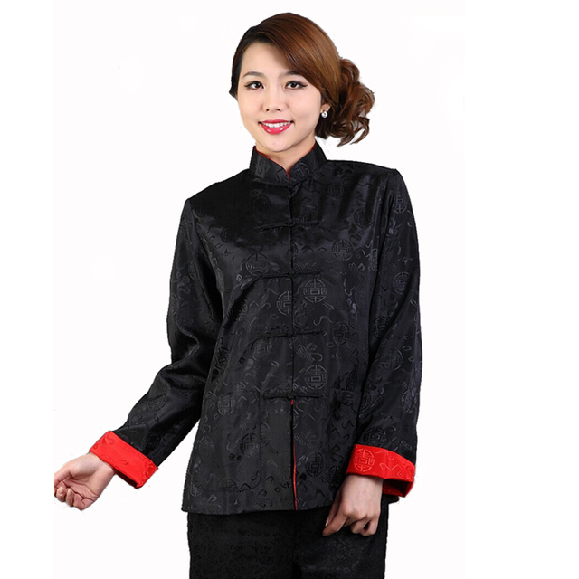 b71a08cdc79 Двусторонний черный красный женщины шелковый атлас куртка китайский кунг-фу  тай-чи пальто красно