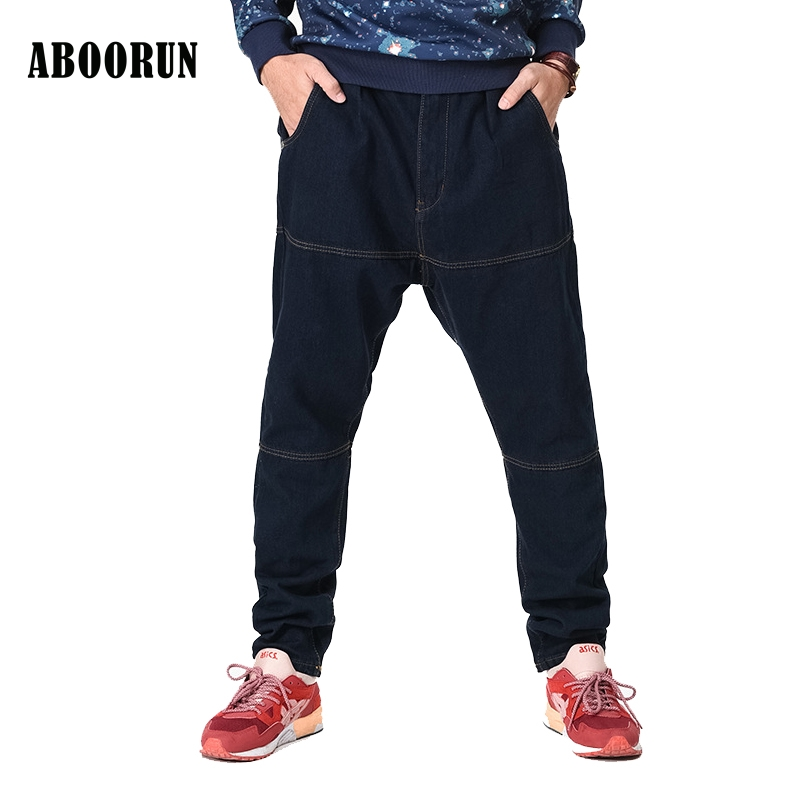 ABOORUN 2017 New Men's Hip hop Jeans Black Loose Harem Baggy Pants Trousers Fashion Street Pants Plus Size 30-46 W2190