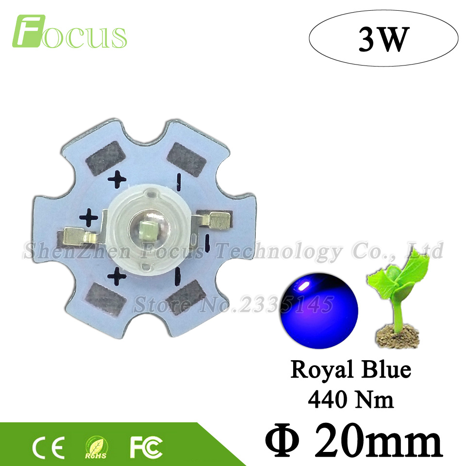 High Power 45mil LED Grow Light 3W Royal Blue LED 440nm Light Beads With 20mm PCB For Plant Vegetable Flower Fruit Growing