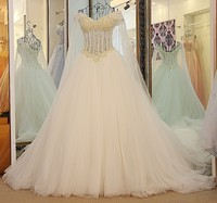 Hot Sales 2017 A line V neck Lace Tulle Crystal Marriage Women Elegant Wedding Dresses vestidos de novias Custom Made WS69