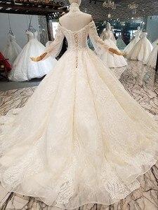 Image 2 - LS354711 Bá Tước Tàu Công Chúa Váy Áo 2018 Sweetheart Tay Dài Bầu Áo Cưới Mua Trực Tiếp Блестящее Платье