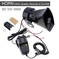 Durable 100W 12V 3 Sound Car Electronic Warning Siren Motorcycle Alarm Firemen Ambulance Loudspeaker with MIC