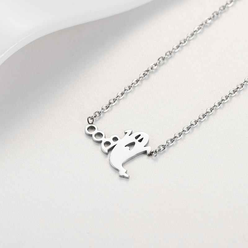 ZFVB Halloween Decoration Ghost Boo Cute Pendant Necklace Short Clavicle Chain Stainless steel Fashion Women Necklace Jewelry