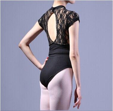 S-XL Gym Suit Adult Black Lace Short Sleeve Sexy Dancewear Ballet Leotard Exercise Girl Dance Clothes