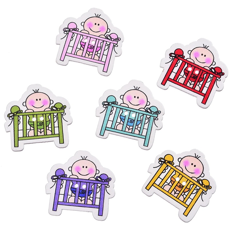 Mixed 50 Pcs Cartoon Style Colorful Wood Sewing Decorative Buttons Scrapbooking Baby Bed ...