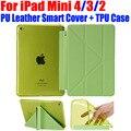 For iPad Mini 4 3 2 Ultrathin PU Leather Case Smart Cover + Soft TPU translucent back case for Apple iPad Mini 4 3 2 IM416