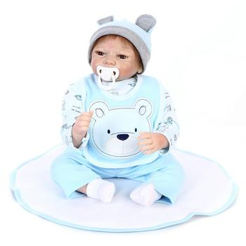 Nicery 20-22inch 50-55cm Bebe Reborn Doll Soft Silicone Boy Girl Toy Reborn Baby Doll Gift for Children Christmas Blue Bear Bib