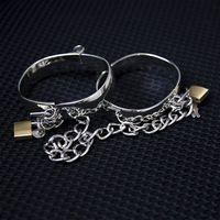 1 Cặp 4 Kích Thước Thép Không Gỉ Nữ Nam Handcuff Kim Loại Còng mắt cá chân Quấn Vòng Bít Cho Các Cặp Vợ Chồng Chuỗi Có Thể Khóa Restraints Dành Cho Người Lớn trò chơi