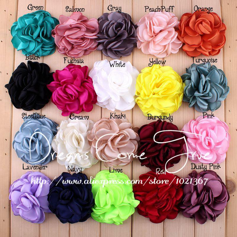 20pcs/lot 8CM 20 Colors Newborn Vintage Soft Artificial Fabric Flowers For Headbands Chic Hair Flowers For Children Accessories