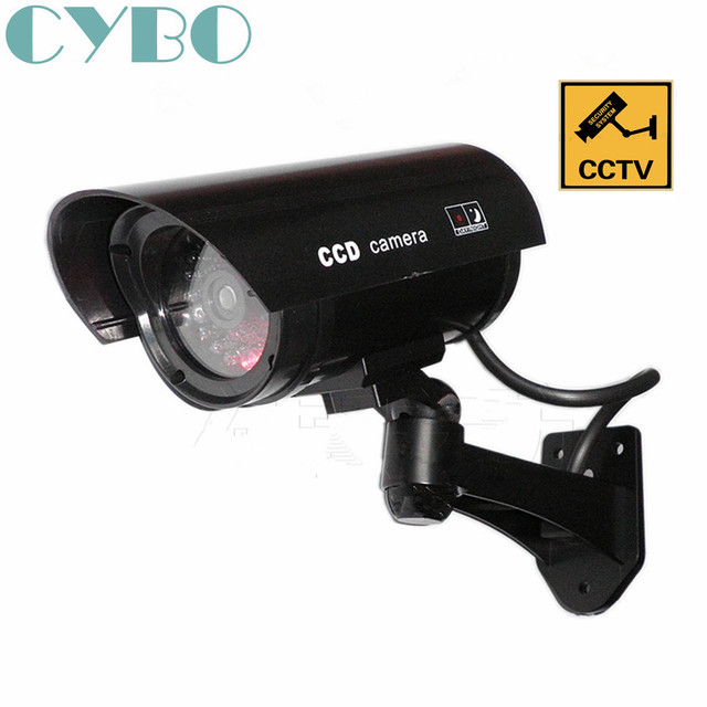 Fake Dummy Security Cctv Camera Outdoor Waterproof Emulational Decoy Ir Led Wireless Flash Red Surveillance