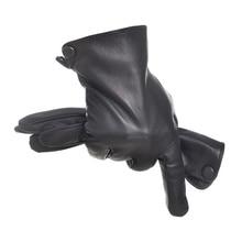 hot sale women genuine leather gloves short paragraph fashion half palm gloves lambskin leather gloves tide performances l098n Men Fashion Genuine Leather Gloves  Hot Short Paragraph Sheepskin Gloves Autumn Winter Thickening Plus Velvet Gloves QFGS807-5