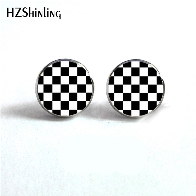 ED-0015 New Design Black And White Checkerboard Stud Earrings Handmade Glass Dome Earring Hypoallergenic Steel Studs HZ4