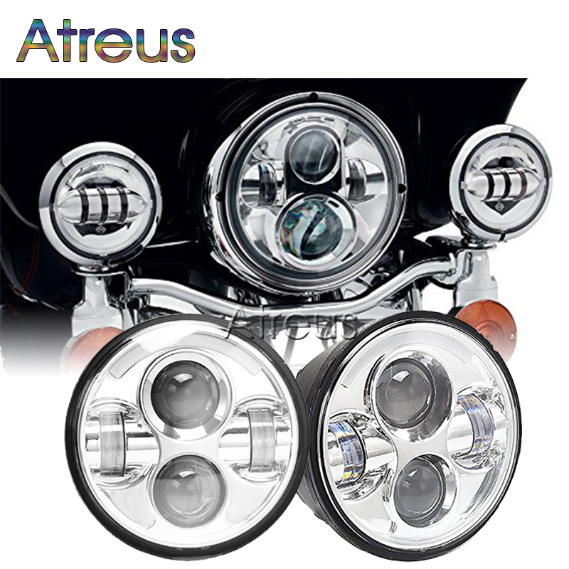 Atreus 1Pc Black 40w Headlight Motorcycle led headlamp for Harley 5.75'' Black Projector Daymaker LED Light Bulb Headlamp 12V harley motorcycle 7 inch orange motorcycle headlight 4 5 fog daymaker hid led light bulb headlight for harley davidson