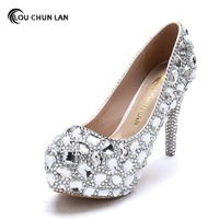 Wedding Shoes Women Pumps Sweet Bridal Crystal Shoes 3 5cmwater Table White Female Shoes Pointed High