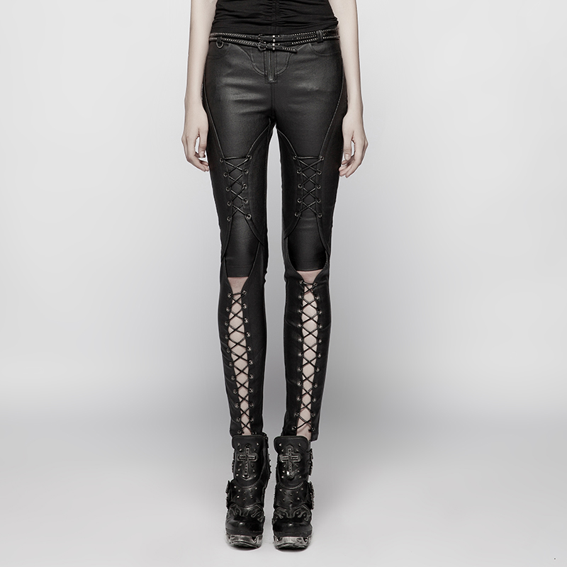 Женские обтягивающие брюки в стиле панк рок, черные сексуальные открытые длинные штаны в готическом стиле, модные женские брюки в стиле пан... - 2