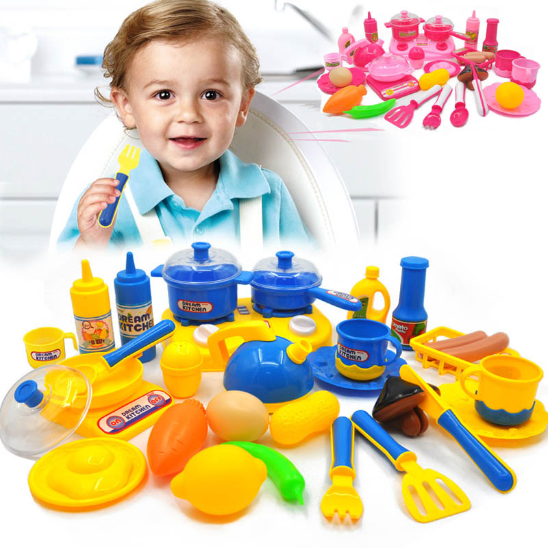 33pcs Set Hot Kids Kitchen Play Toys Fruit Vegetable Cooking With Pots Pans Dishes Cutting Pink Blue In From Hobbies