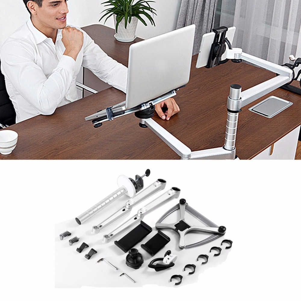 Laptop Combination Bracket For Laptop Computer Monitors Aluminum Alloy Combination Desk Holder for 10-15 /9-10 inch Laptop