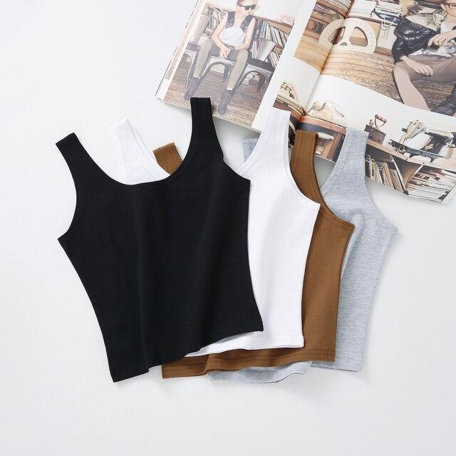 Heißer 2019 Neue Frauen Sexy Baumwolle Crop Top Crop Bustier Multicolor Ärmel Gestellte Blusas Weste Tank Top Leibchen