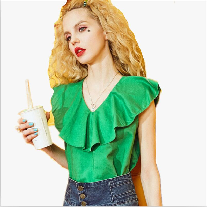 Thin Cotton And Linen Ruffles Collar Women Tank Tops Solid 4Color Casual Loose Sweet Girl Women Tops Vestido Plus Size M-7X