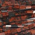 """Preto Natural de Obsidiana Mogno Vermelho Quadrado Forma de Retângulo Pedra Solta Beads DIY Jóias Fit Colares ou Pulseiras 15 """"03769"""