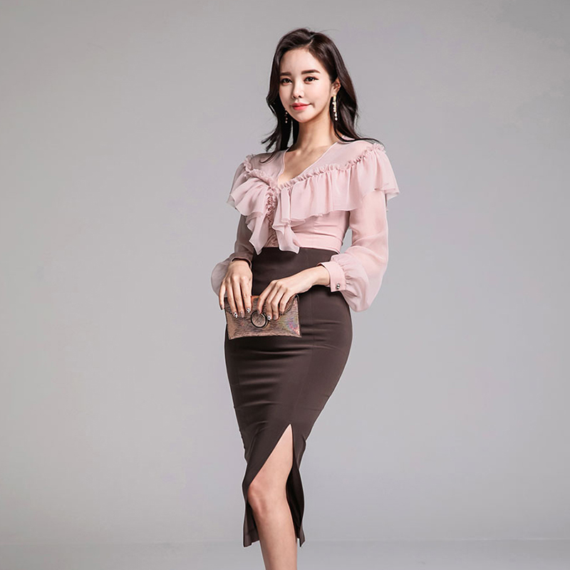 Ruffles Set neck length 2018 Blouse Winter Pencil Princess V Two Bodycon Dress Piece Party Knee Skirt Suits Chiffon qAwHRwpx