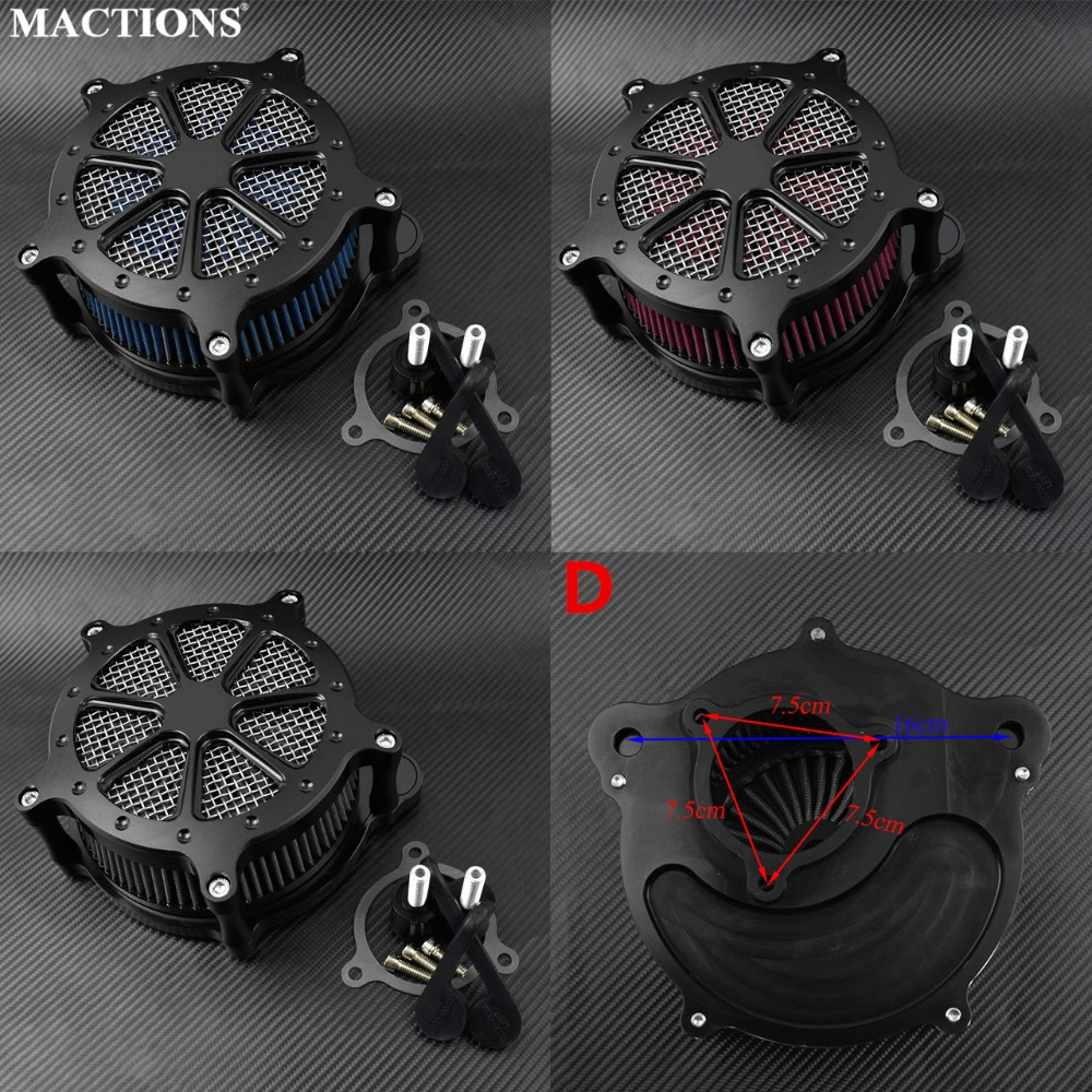 Motorcycle Air Cleaner Intake Filter System Grey Red Blue Billet Aluminum For Harley Touring 2017 Up