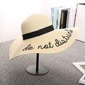 Chapéu Feminino Sun Sombreros Carta Solid Mujeres Sombrero de Ala Ancha Playa Del Verano de Paja Sombreros de Panamá Cap Y14