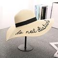 Chapeu Feminino Sun Hats Letter Solid Straw Hat Women Wide Brim Summer Beach Hats Panama Cap Y14