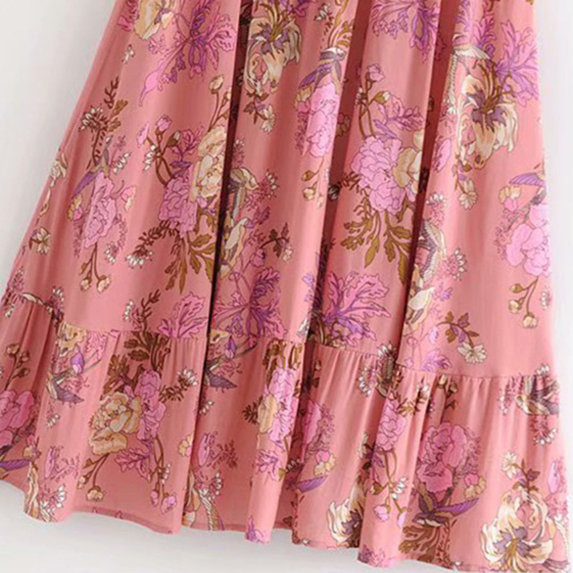 Boho Chic Summer Vintage Floral Print Pleated Skirt