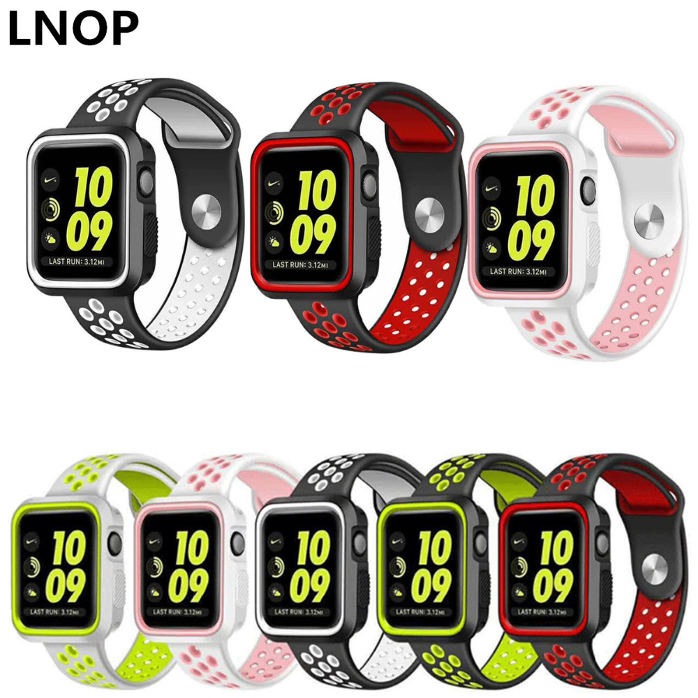 LNOP sport band strap for apple watch band 42mm 38mm iwatch serise 2/1 wrist watch band Bracelets+protector case rubber case