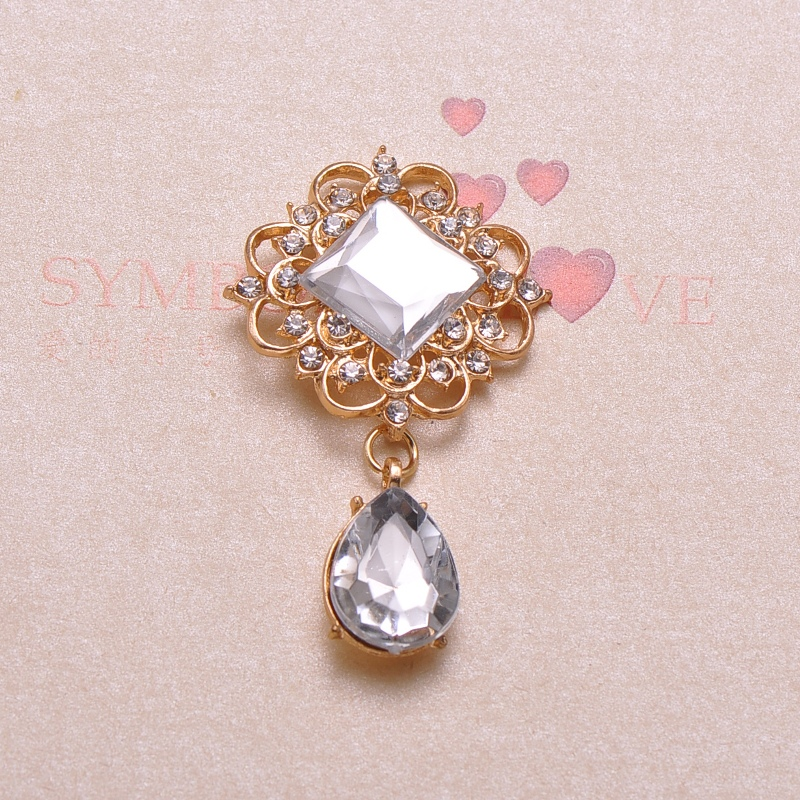 (J0668) bouton en métal strass 33mm x 56mm, plaqué argent ou or clair, dos plat-in Boutons from Maison & Animalerie    2