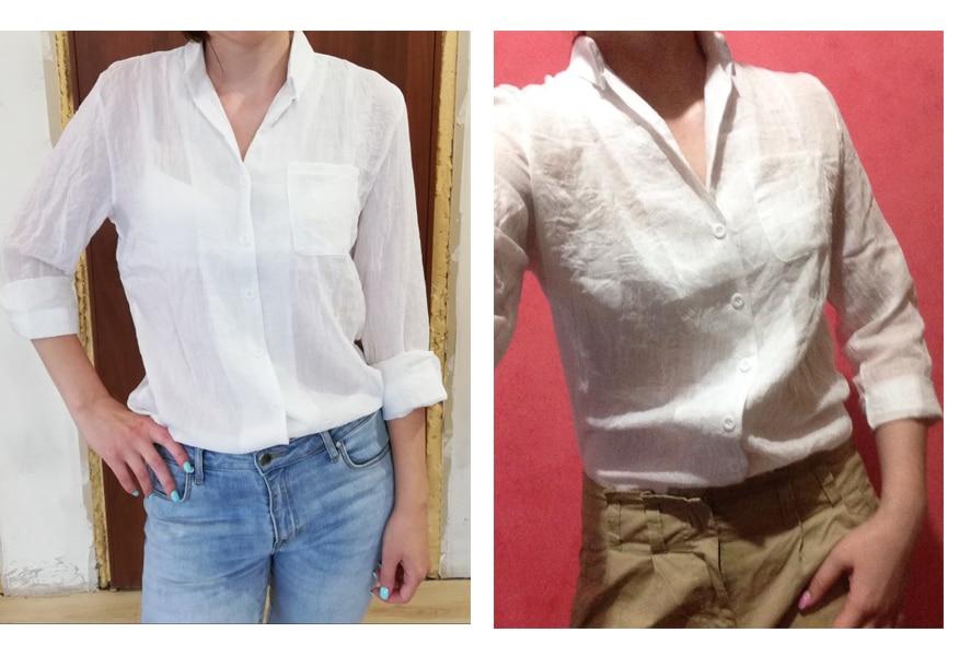 965d65e358 Chemisier Femme Womens Tops Moda 2018 Outono Camisa De Linho Branco ...