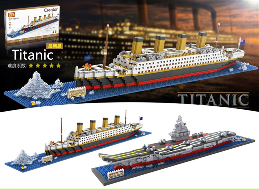 LOZ Diamond Blocks Titanic Small size DIY Building Toys Aircraft Carier Auction Figures Juguetes  Boy Gifts Kids Toy 9389-9390 loz diamond blocks figuras classic anime figures toys captain football player blocks i block fun toys ideas nano bricks 9548