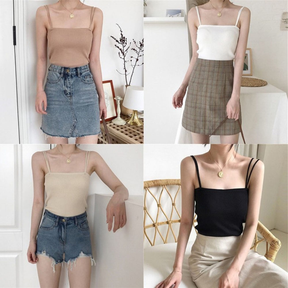 Knitted Ribbed Women's V-neck   Tank     Top   Vest Sexy Backless Sleeveless   Top   Female 2019 Summer Solid Color Camisole Women Clothes