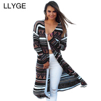 LLYGE Geometric Pattern Print Long Cardigan Blouse Vintage Open Stitch Long Sleeve Loose Cover Up Outwear