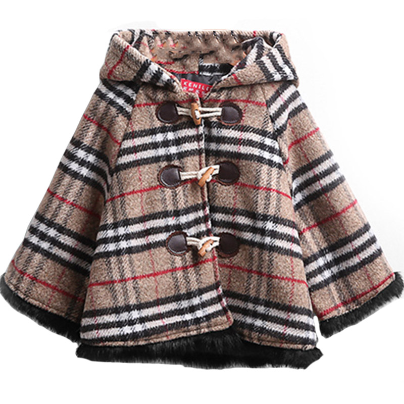 ФОТО Toddler Kids Clothing Winter Woolen Coat Lattice Lace Cap Baby Girls Outerwear Thick Cotton-Padded Hooded Princess Coat Age 2-9Y
