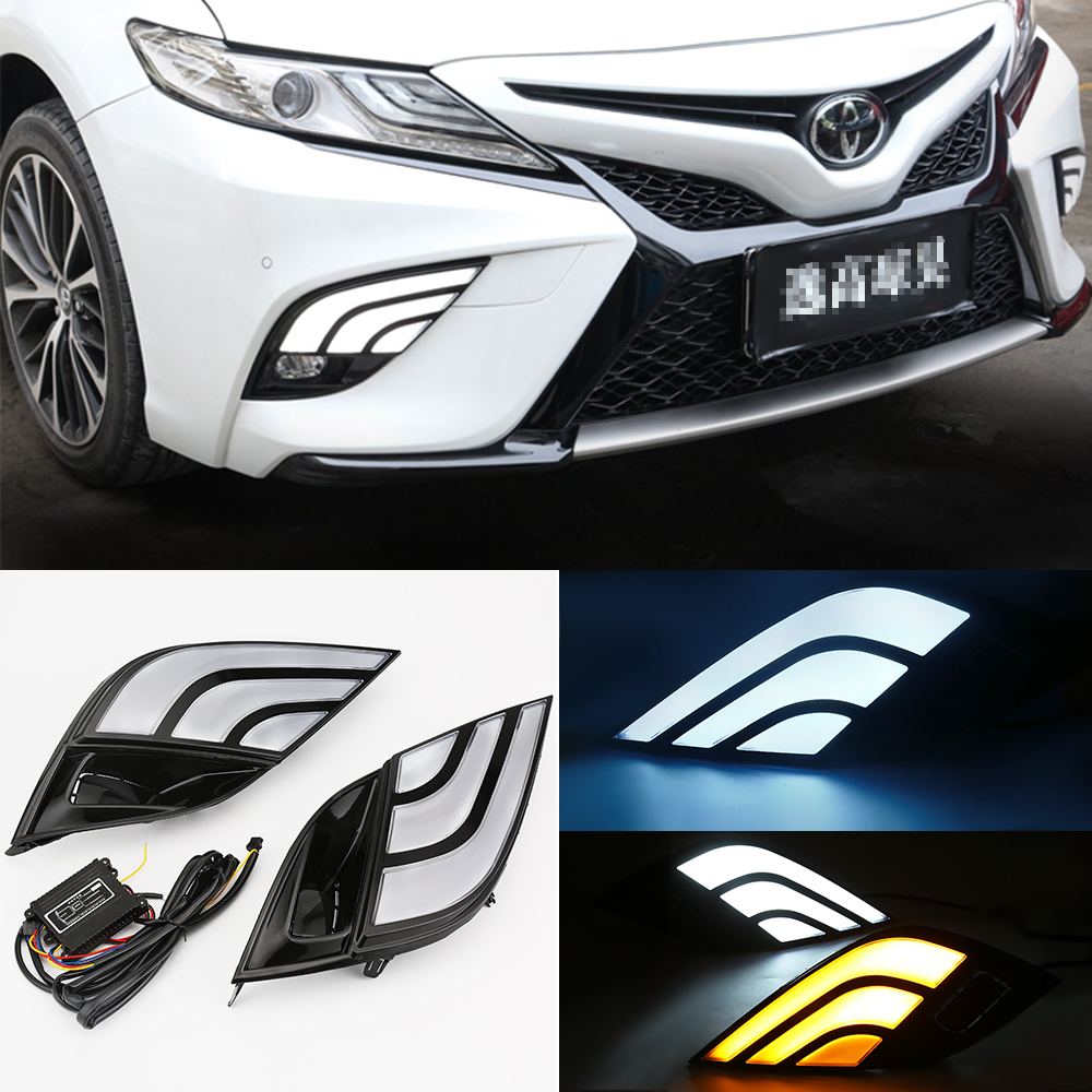 LED DRL Daytime Running Lights 12V Turn Signal Light For Toyota Camry 2018 SE XSE White Driving Light + Yellow Turn Signal 4 led 12v vehicle signal lights 2 pack yellow