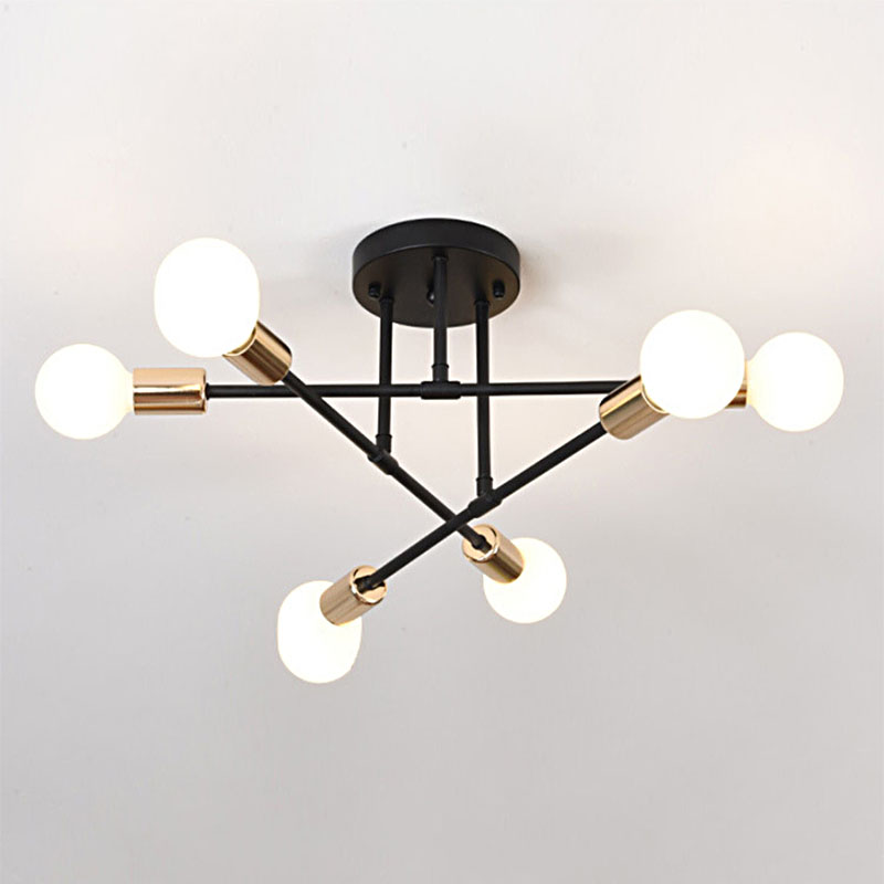 HTB10ecQc2WG3KVjSZFgq6zTspXa0 6/8 Head LED Industrial Iron Ceiling Lamp Black/Golden European Minimalist  Living Room Lighting 220V E27 Anti-Rust & Durable