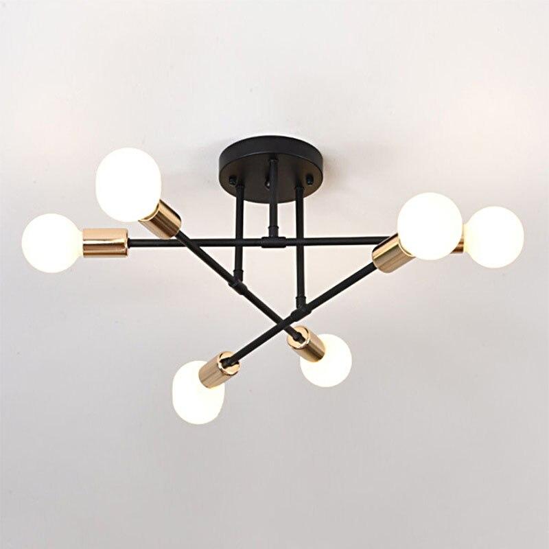 HTB10ecQc2WG3KVjSZFgq6zTspXa0 6/8 Head LED Industrial Iron Ceiling Lamp Black/Golden European Minimalist Living Room Lighting 220V E27 Anti-Rust & Durable