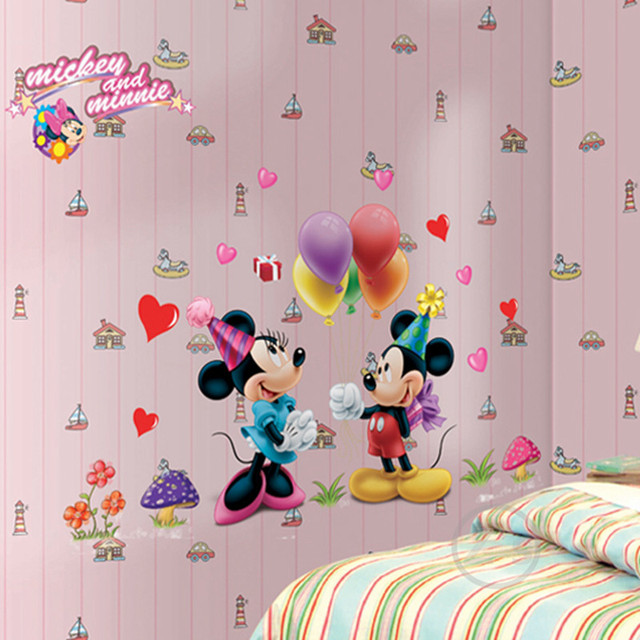 Mickey Mouse Minnie Mouse Wall Sticker Home Decor Cartoon Wall Decal DIY  For Kids Room Decal Part 27